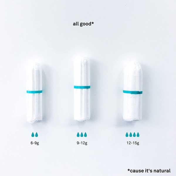 all good Bio Tampons Größen